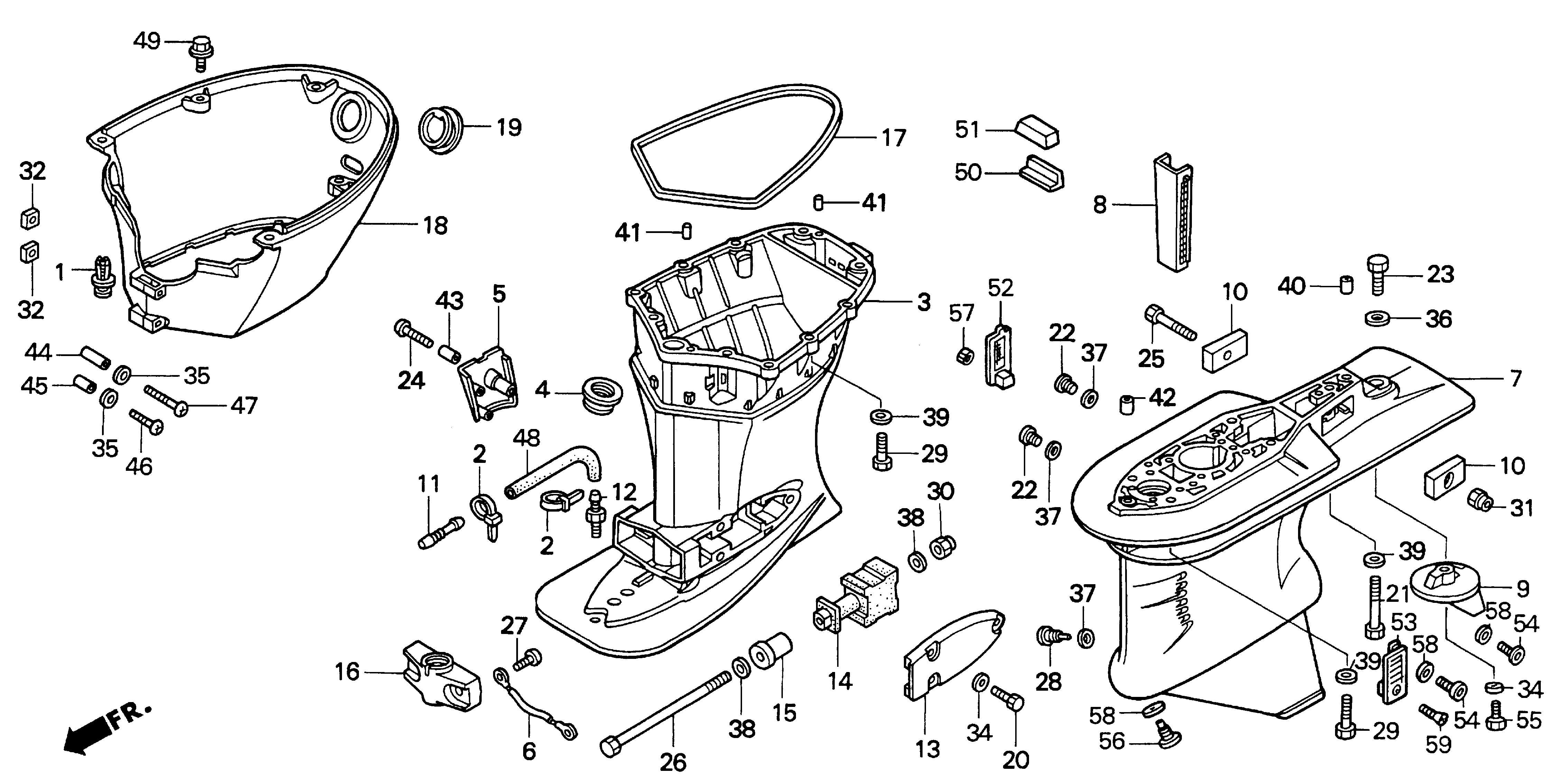 Honda Outboard Motor Parts Diagram Wiring Diagrams Of Pre1997 Bf50a Lra Engine Lower Case Bf90 Imageresizertool Com 4 Stroke Bf8a