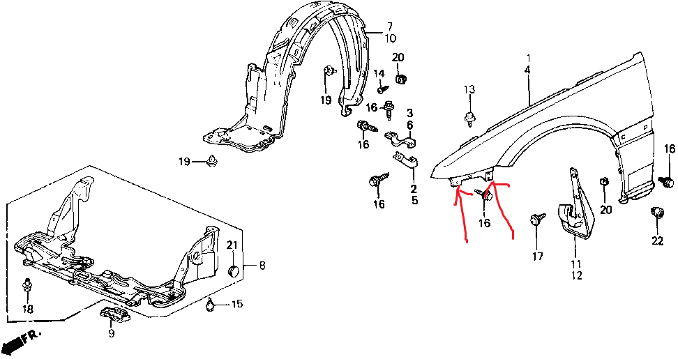 how do you remove the driverside fender for 91 honda prelude si
