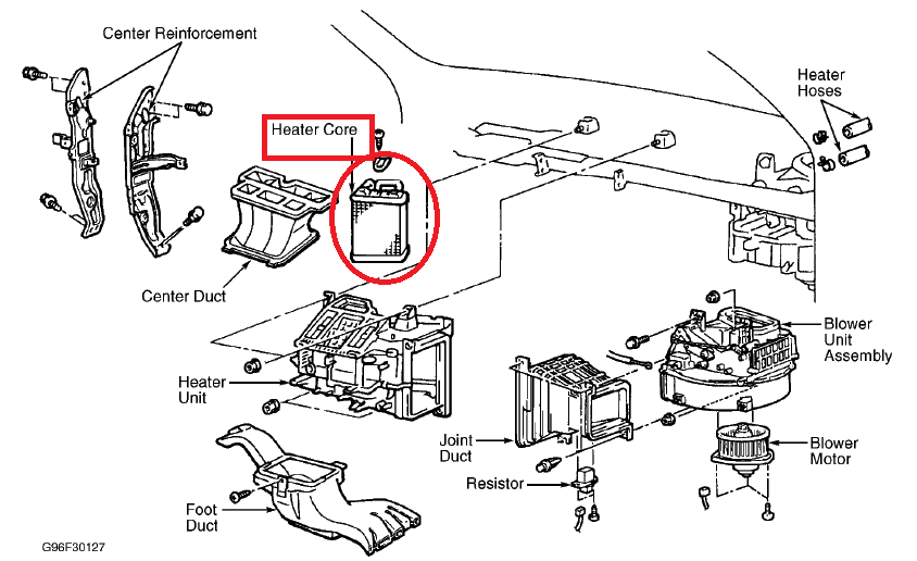 mitsubishi lancer heater core location