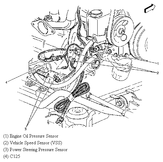 where is the location of oil pressure sensor on buick lesabre 2003 3 8l 1985 Buick LeSabre full size image