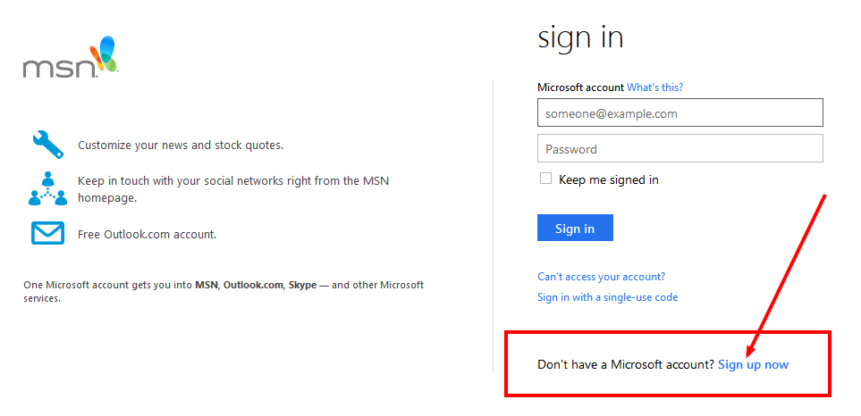 msn email sign up page