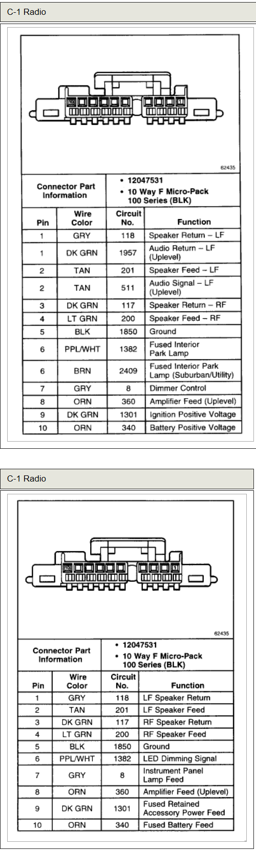 26 2001 Chevy Tahoe Radio Wiring Diagram