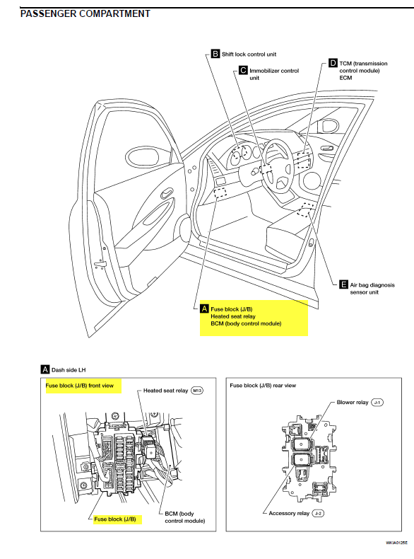 i need a detailed fusebox diagram for a 2004 nissan altima  the trunk open light stays on even
