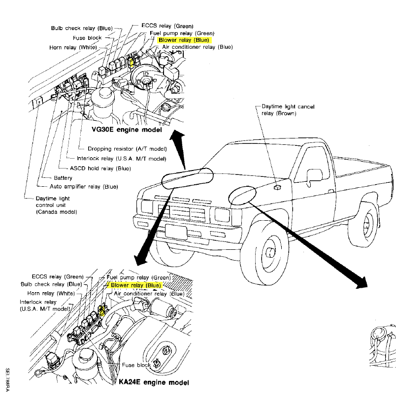 1989 nissan pickup ac relay location
