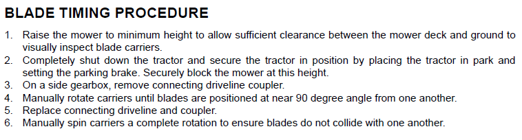 How to adjust timing on a 3210 bushog mower it is a 2001