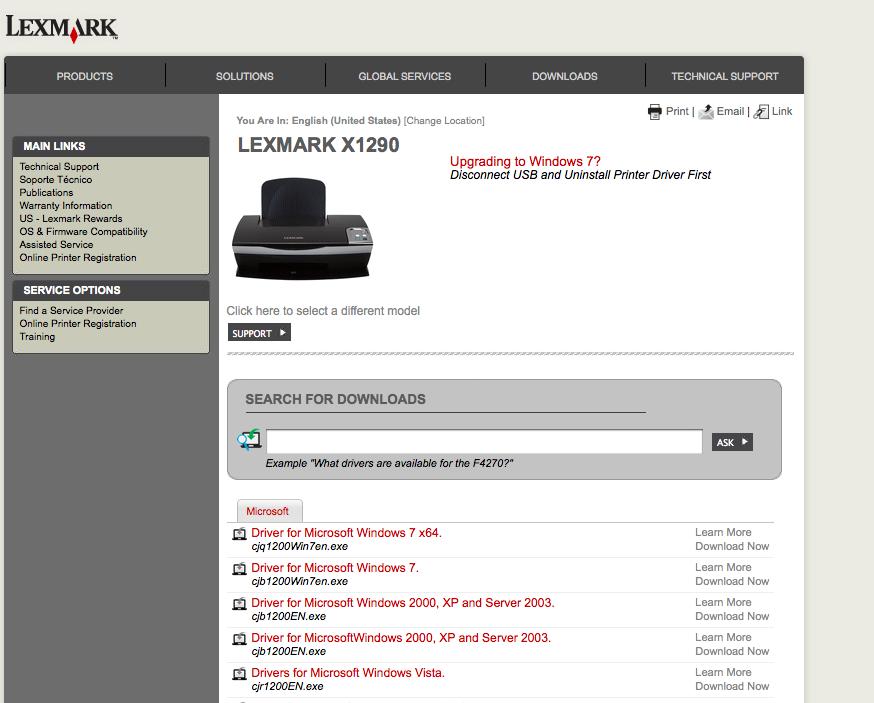 lexmark x1290 treiber