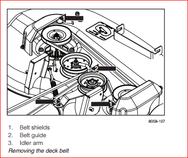Diagram Install Belt John Deere 54 Deck Mower 352015 additionally How to put belt on the mower deck likewise John Deere 160 Mower Wiring Diagram in addition Craftsman 48 Mower Deck Belt 370716 further Murray 36 Mowing Deck Belt Diagram 390135. on huskee drive belt diagram