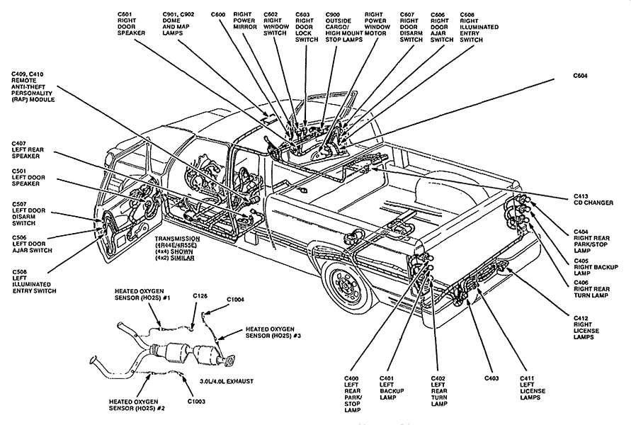 ford ranger sensor locations