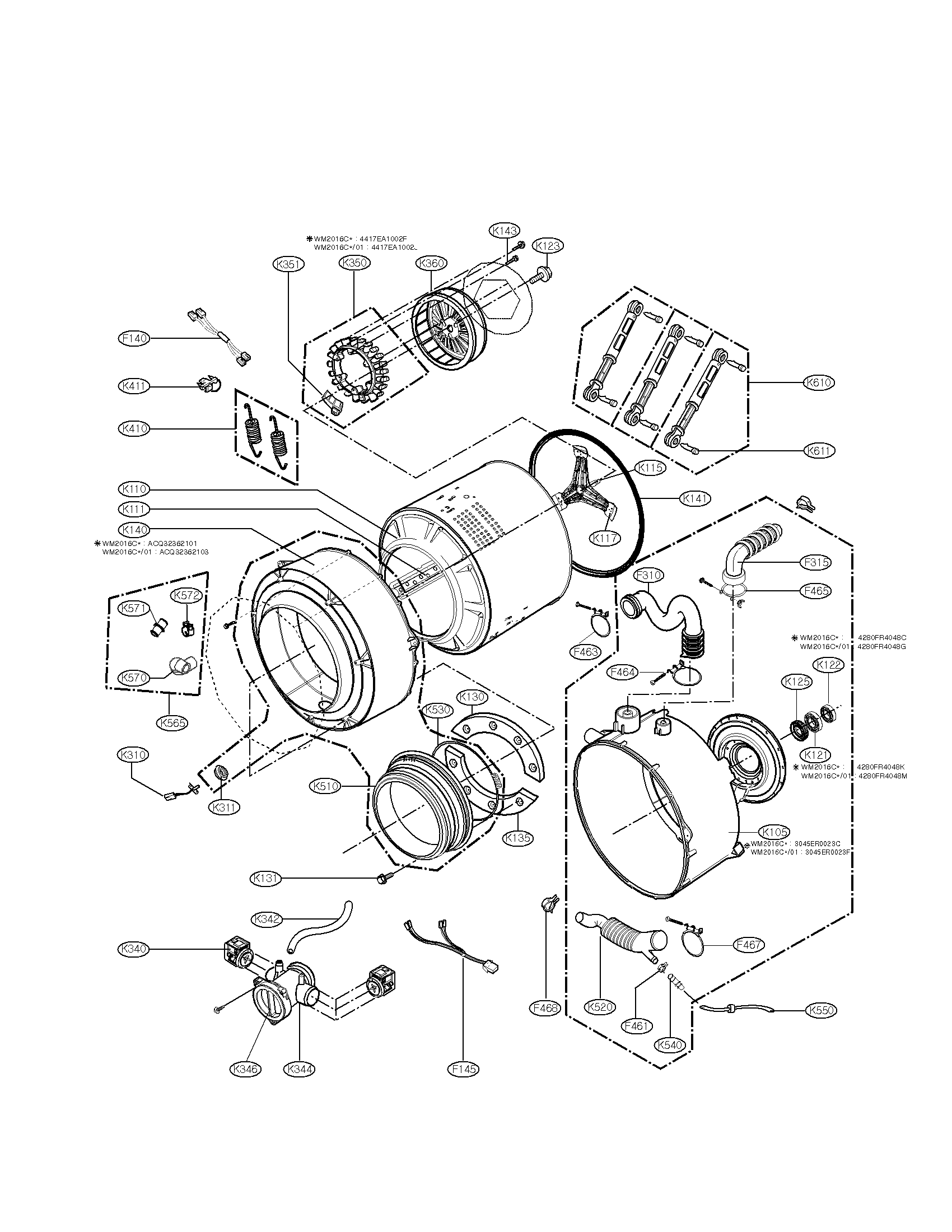 lg wm2016cw washer leaking from rear of motor  stator area