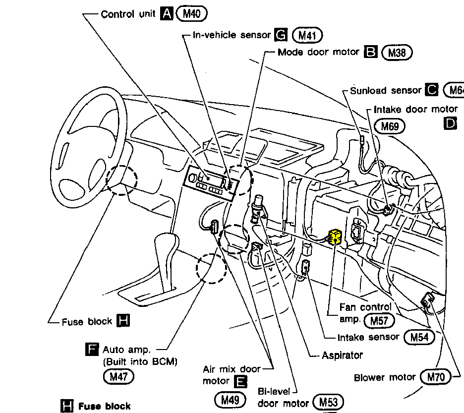 where is the blower resistor on a 1995 nissan maxima with