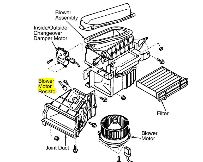 2004 sebring blower motor resistor location