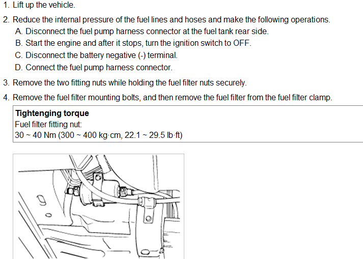 Where Is The Fuel Filter Located On Hyundai Xg350 And How