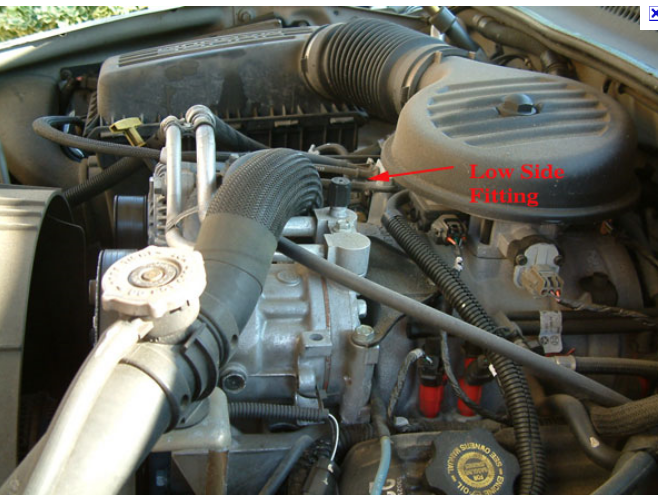 Where Is The Lower Port For A C Charging On 98 Dodge Dakota Located