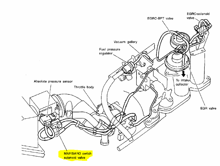 No Spark T92202 further 2002 Ford F 150 Vacuum Diagram moreover Nissan Altima 3 5 2004 Specs And Images also 52sd6 Code P1105 Showing Time Replaced Map together with 356ck 93 Toyota Runner Need Diagram Vacuum. on nissan maxima vacuum hose diagram