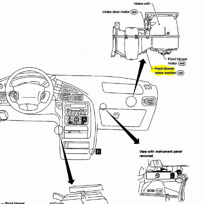 Nissan quest blower motor resistor location wiring for Blower motor only works on high speed