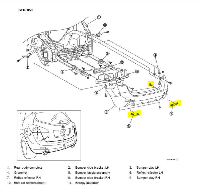 nissan murano bumper diagram  nissan  auto parts catalog