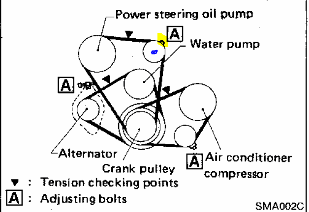 2000 nissan xterra belt tensioner diagram