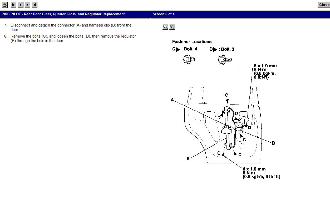 Service manual remove 2006 honda pilot window control for Honda civic a13 service