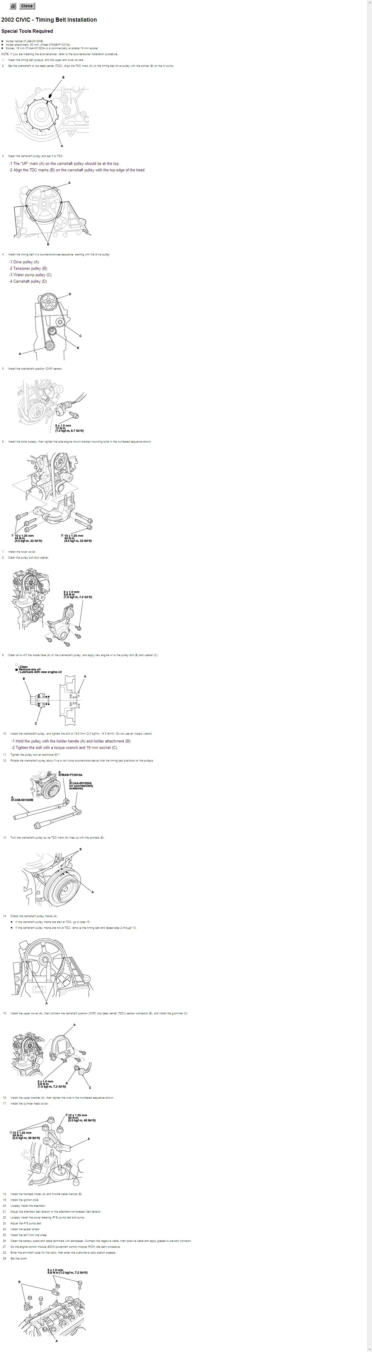 Anyone Have A Timing Belt Diagram For 02 Honda Civic Lx 1 7 Lt