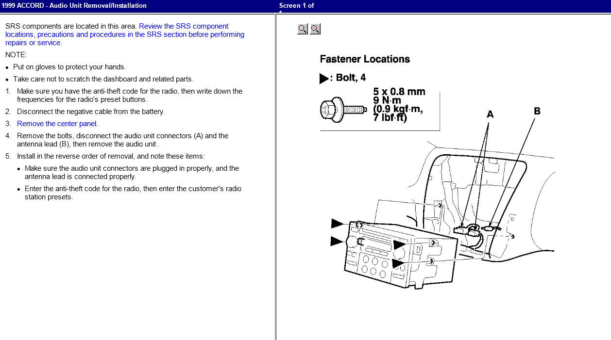 I need the radio code for my 1999 Honda Accord - had transmission work done and battery was ...
