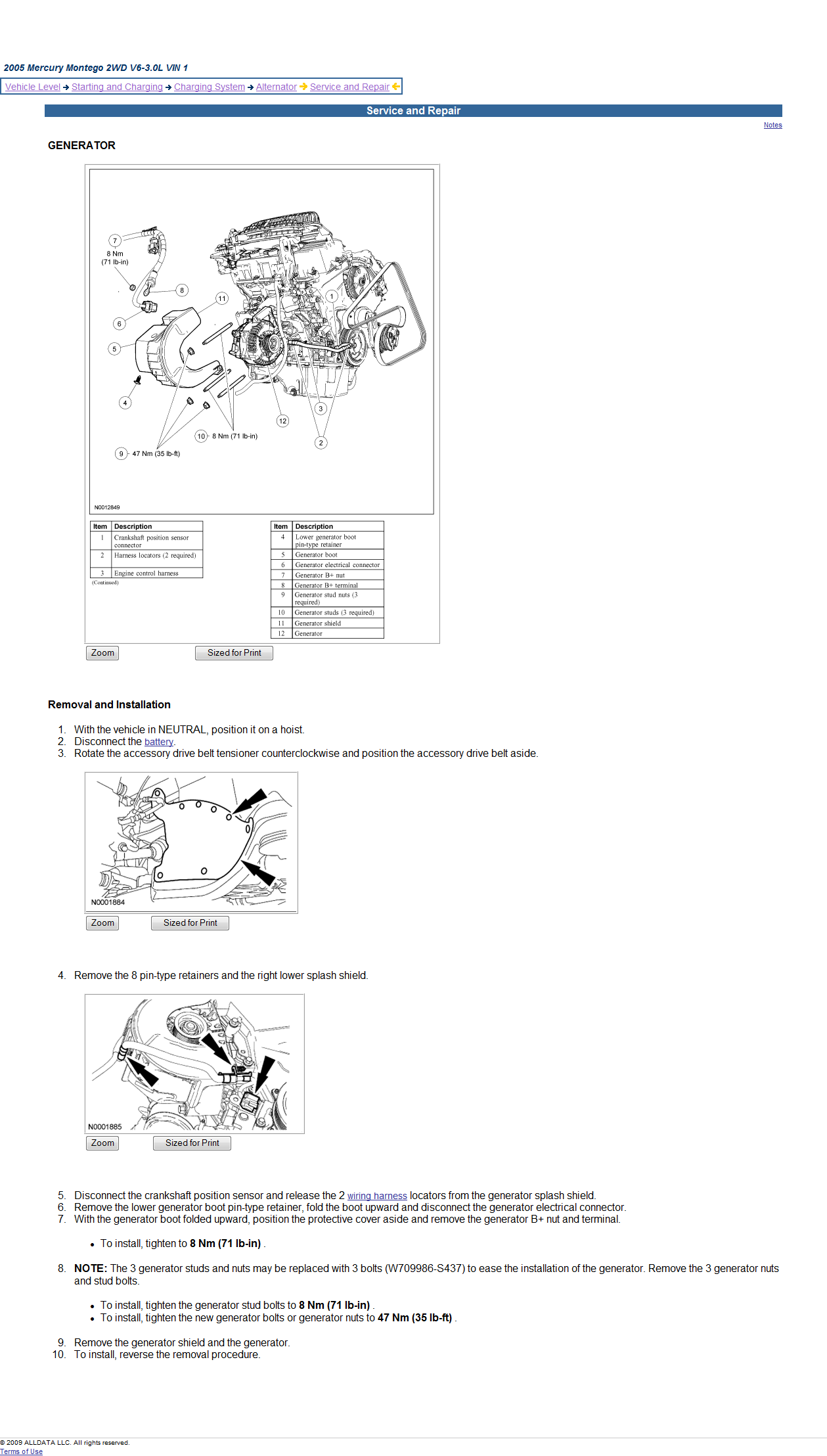 How Do I Get To The Alternator On My 05 Montego Change It Not Mercury 9 8 Wiring Diagram Graphic