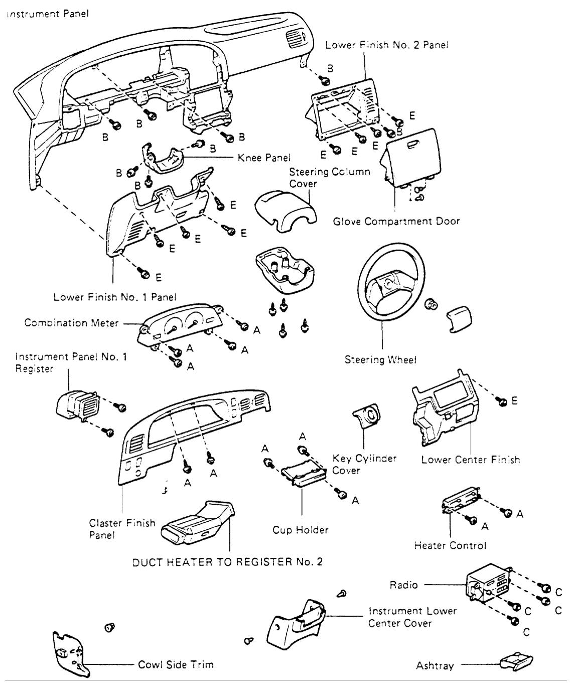 i need to know how to remove the dashboard in a  u0026 39 93 4runner  my old 4runner was totaled and the