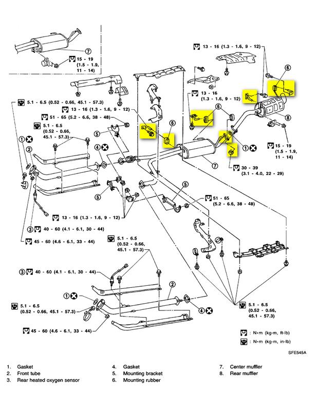 2000 nissan maxima exhaust system diagram