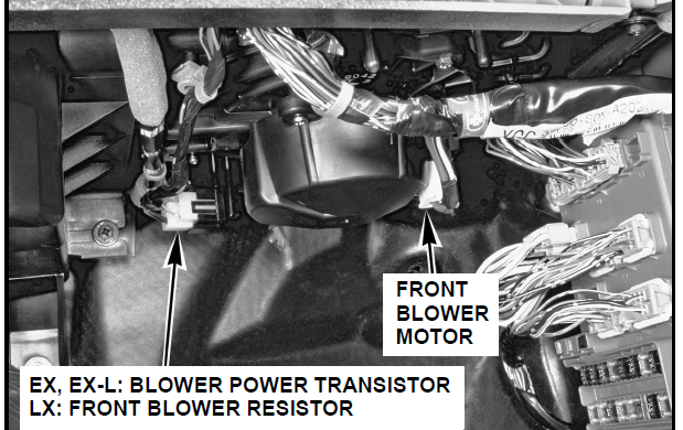 Honda blower motor resistor location 28 images fan for Blower motor only works on high speed