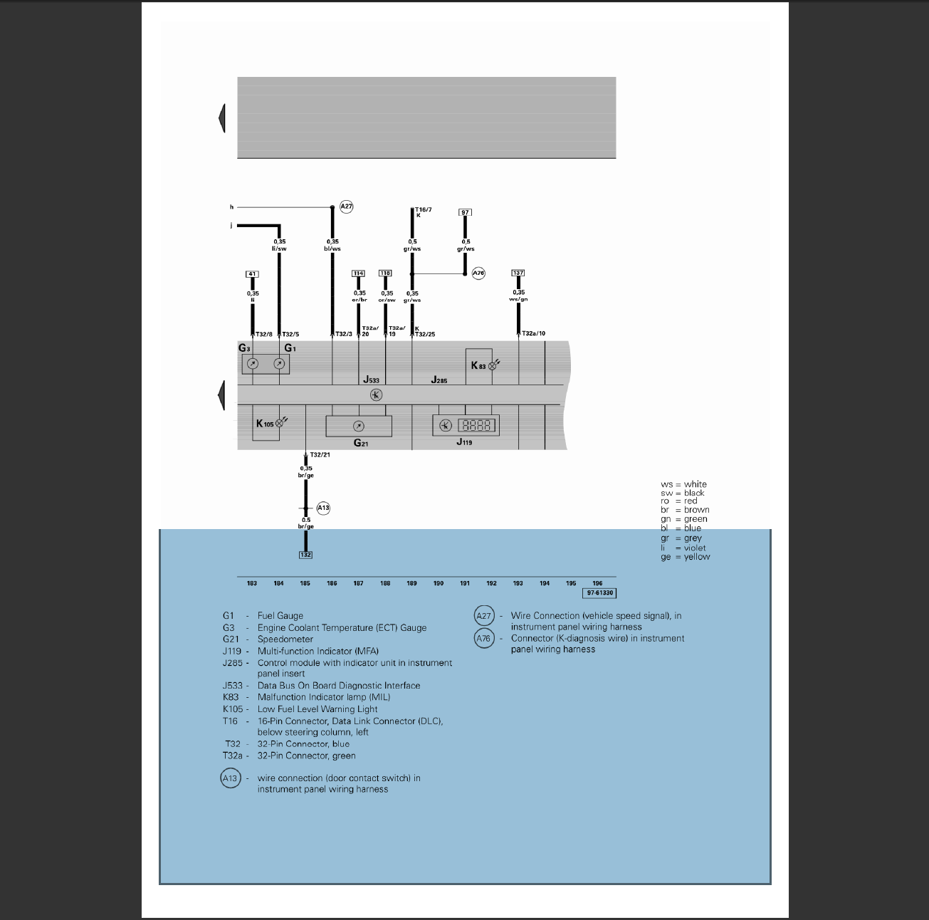 Does Anyone Have The Electrical Diagram For A 2001 Vw Beetle Multi Panel Wiring Graphic