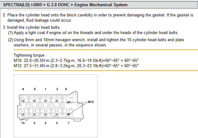 what is the head torque for a 2005 kia spectra5 2 0 rh justanswer com