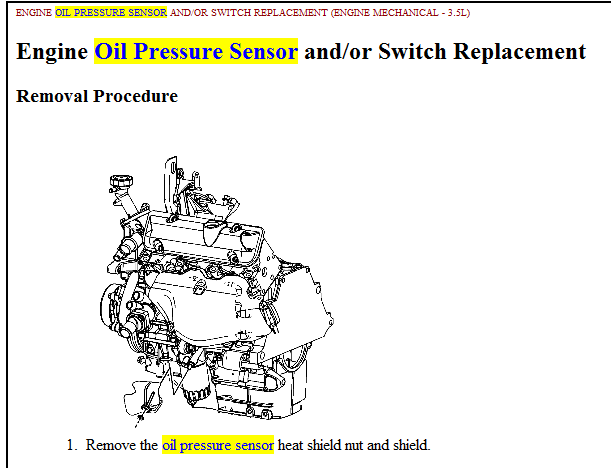 on 2006 Chevy Impala Oil Pressure Sensor Location