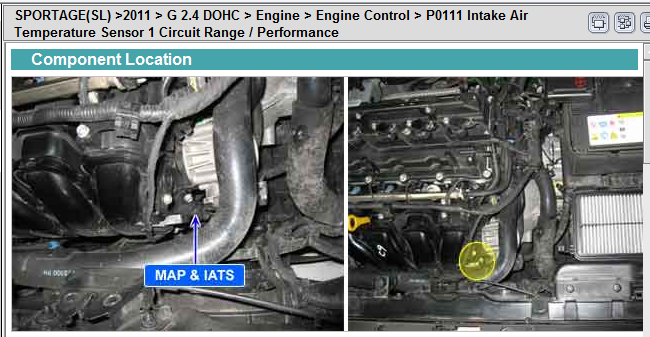 where is the iat sensor located on a 2011 kia sportage