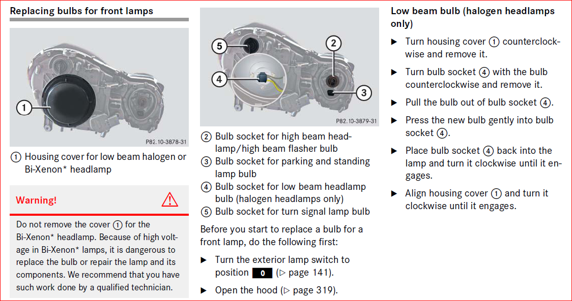 How to change headlight bulb low beam on a 2006 e350 for Mercedes benz low beam bulb