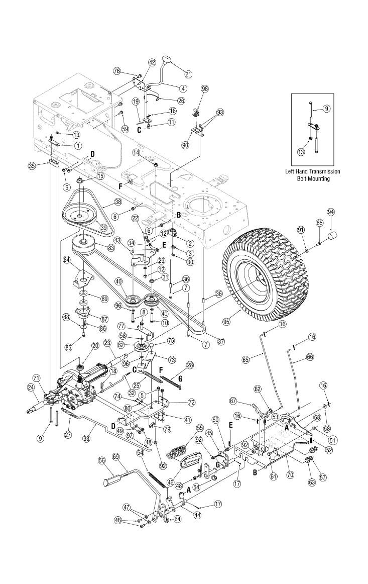 White Snowblower Parts Diagram besides Mtd Drive Belt further John Deere L120 Parts Diagram moreover T26259422 Need drivebelt diagram troy bilt further John Deere Transmission. on bolens mower deck belt
