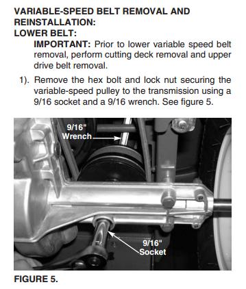How to put a lower drive belt on a 2006 troy bilt super bronco