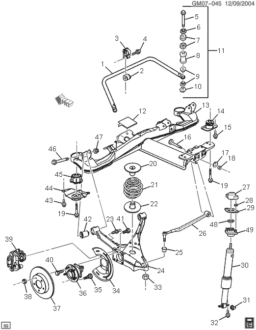 2001 Pontiac Grand Prix Rear Suspension Diagram