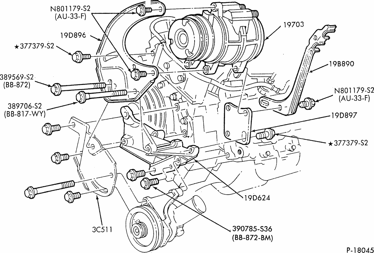 I Need A Drawing Of The Bracket Assembly For The Power Steering And Air Conditioning For A 1989