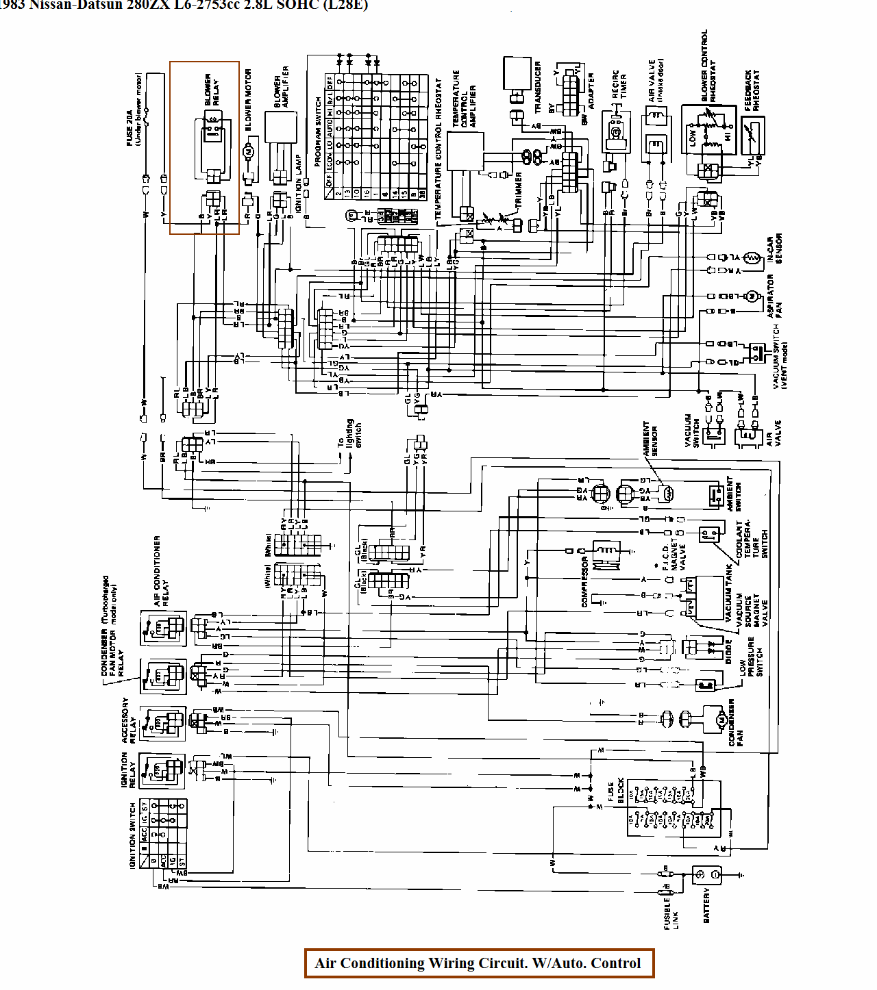 location of blower motor relay on 1983 nissan 280zx with