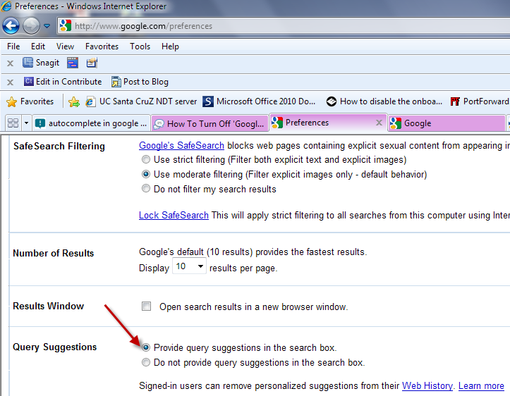 Autocomplete in google seach is not working on any of my