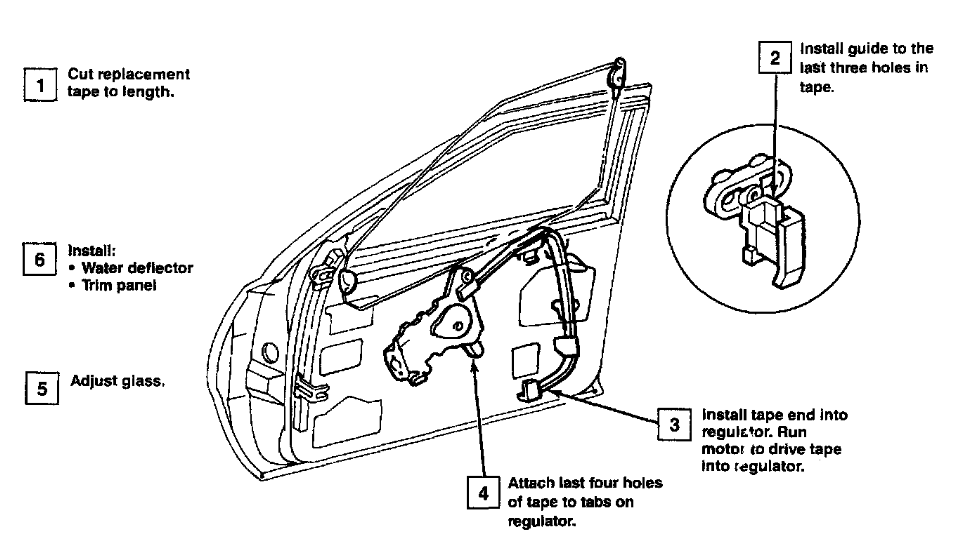 Where Can I Find A Visual Diagram To Replace The Power Window System  Motor  Belt  Tracks  In A