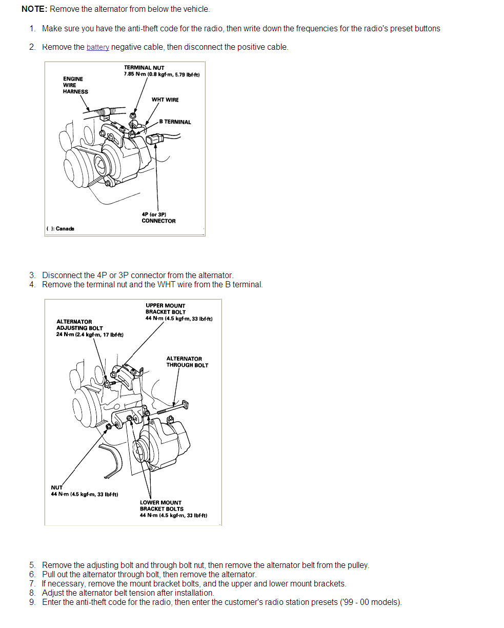 How Do You Remove And Replace The Alternator On A 2000 Honda Civic To Disconnect Wiring Harness Graphic