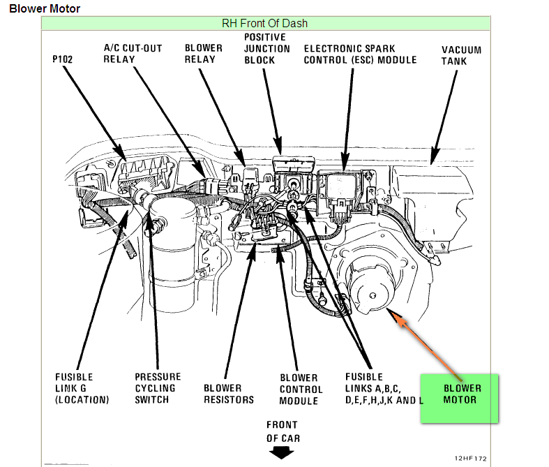 Where Is The Blower Motor For The Ac In A 1993 Buick