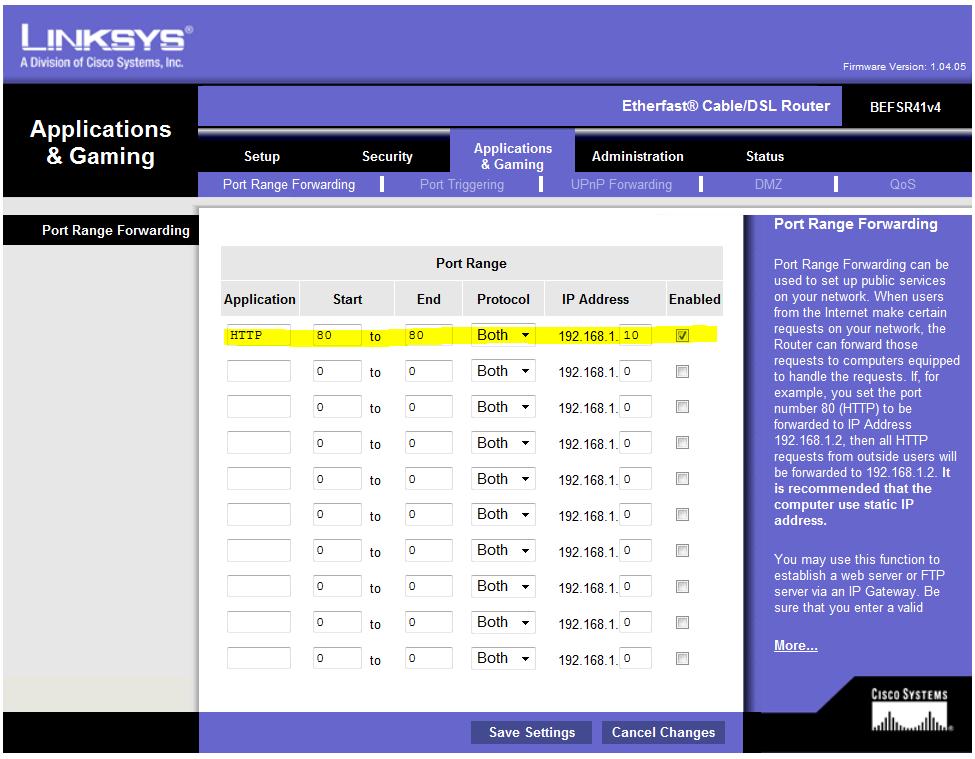 Linksys befsr41v4 screenshot router information.