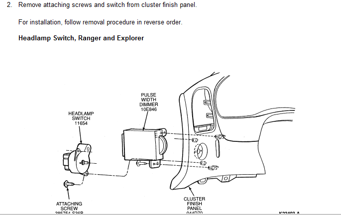 how do i get to the headlight switch in a 1995 ford ranger to tighten it up or replace it
