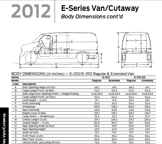 I Need Drawing And Calc About Internal Volume Of A Ford E350