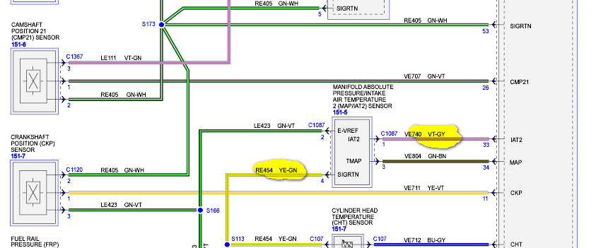 What Color Are The Two Iat Wires On A 2012 Ford F 150 3 5l