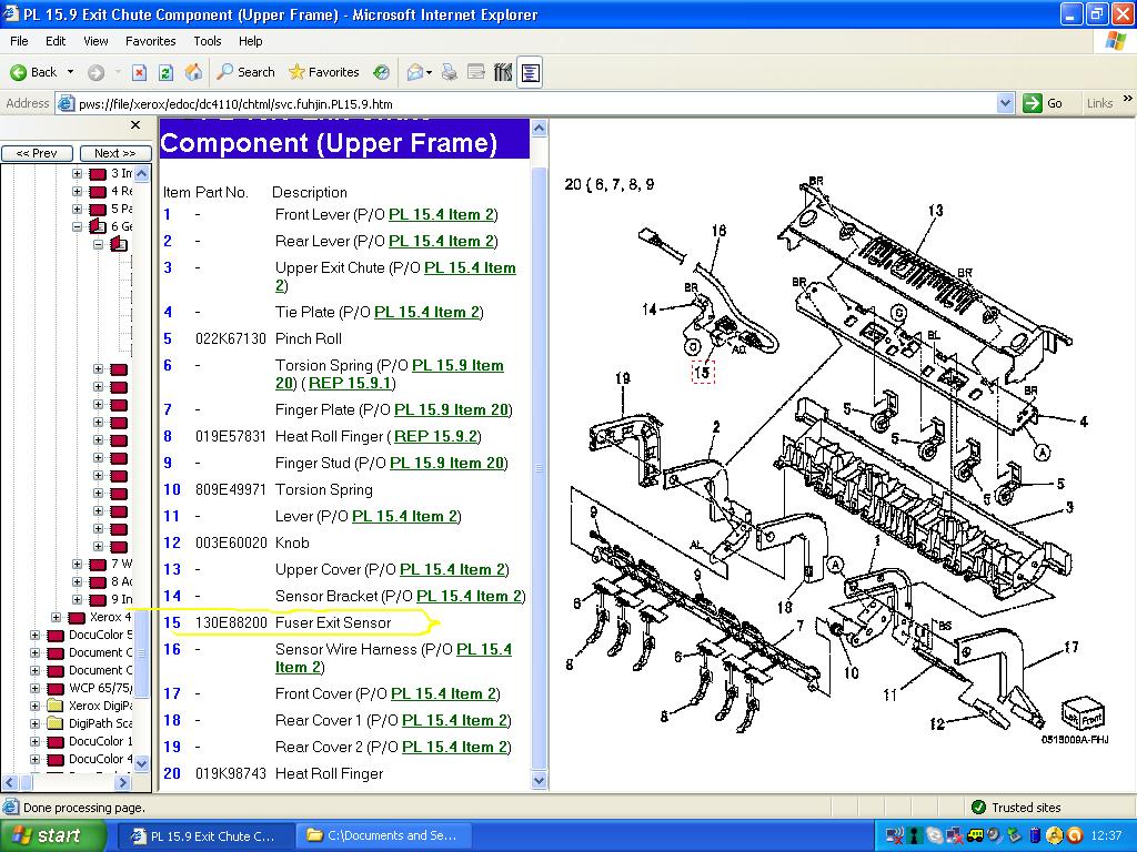Xerox 4595 Fuser Exit Sensor On Jam, what do I do?