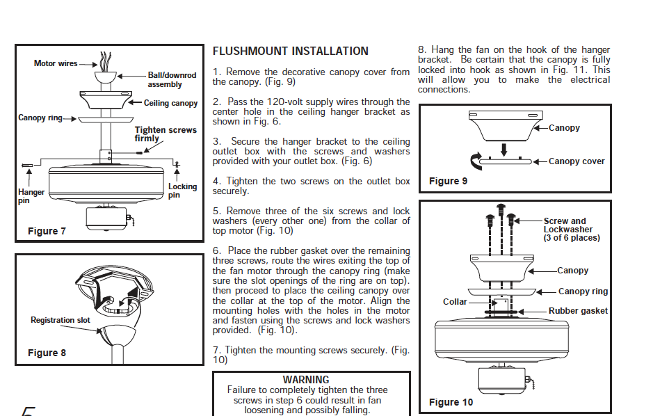 Do you have installation instructions for Hampton Bay Fan model