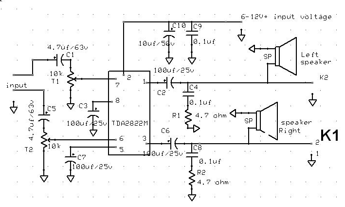 i am using a tda2822m circuit to amplify music  the output