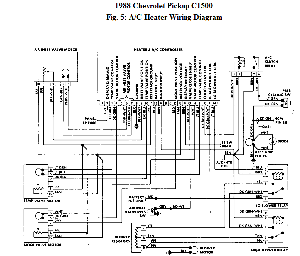 That Vacuum Controlled Do Not Havebut If You Want To Try I Can Get Wiring Diagrams 32 Unique 1988 Chevy Silverado: C1500 Chevy Truck Heater Wiring Diagram At Goccuoi.net